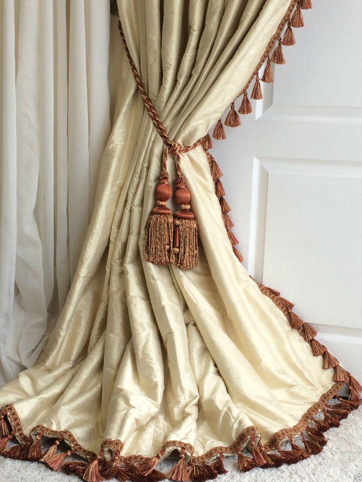 OPULENT 100% SILK Blanket Interlined Curtains & Tiebacks Pale Cream 2 PAIRS AVL. | eBay