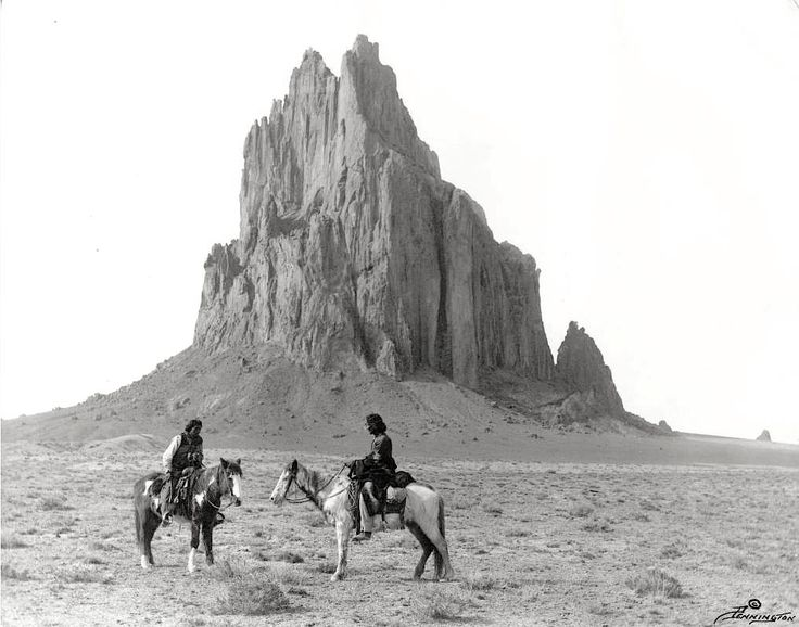 old-hopes-and-boots:Navajo men by Shiprock, New Mexico. Early 1900s. Photo by William M. Pennington.