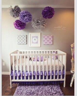 Don T Like The Flower Things Hanging From Ceiling But This Shade Of Purple Grey Color Scheme Baby Rooms Bedding