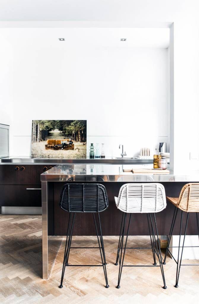 HK-living Tabouret de bar en rotin, noir, 88x47x46cm - lefliving.com