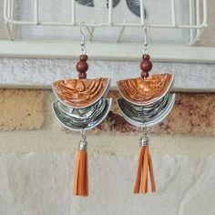 Boucles d'oreilles capsules de café nespresso orange et kaki