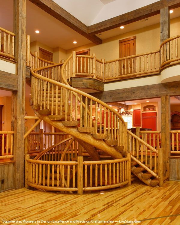 StairMeister Log Works Was Commissioned To Design, Craft, And Install This  Giant, Custom Log Staircase Within A Unique Entertainment Sanctuary; An  Elegant, ...