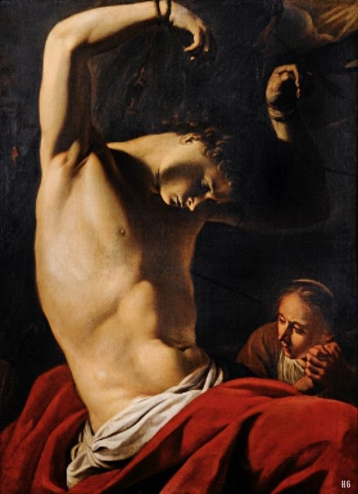 follower of Caravaggio. -  Saint. Sebastian. oil/canvas.
