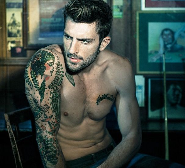 BEARD B: Medium length, clipped. I like this length the most for you.   Hair Styling   Pinterest   Tattoos, Tattoos for guys and Inked men