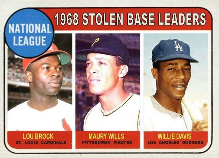 1969 Topps N.L. Stolen Base Leaders: Lou Brock, St. Louis Cardinals, Maury Wills, Pittsburgh Pirates, Willie Davis, Los Angeles Dodgers, Baseball Cards That Never Were