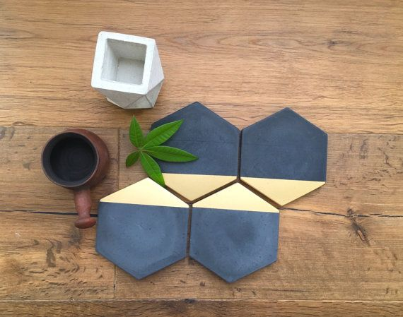 New Black Concrete Hexagon Gold Painted Coasters. by MeAConcrete Set of 4 = $40.