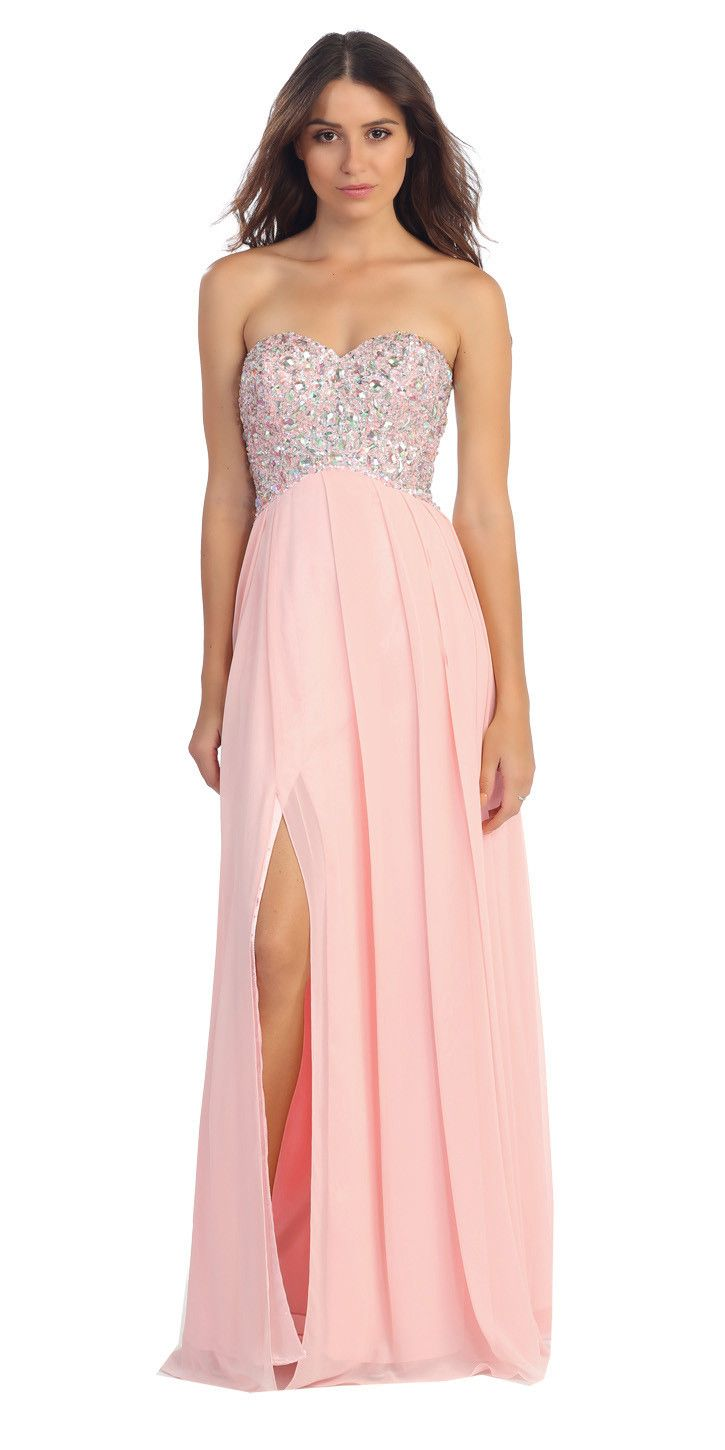 Sparkly Sweetheart Silver Prom Dress Empire Leg Slit | Products