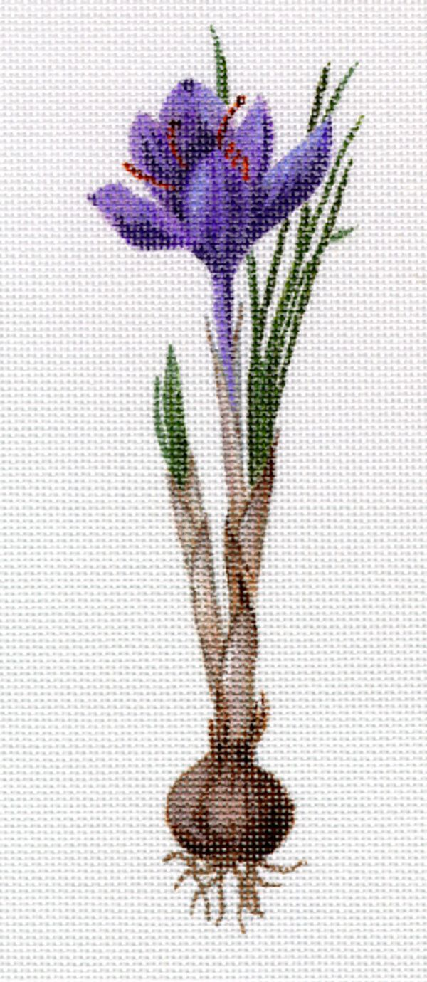 Crocus Hand-painted Needlepoint Canvas by HeartlandHouseDesign on Etsy https://www.etsy.com/listing/202321282/crocus-hand-painted-needlepoint-canvas