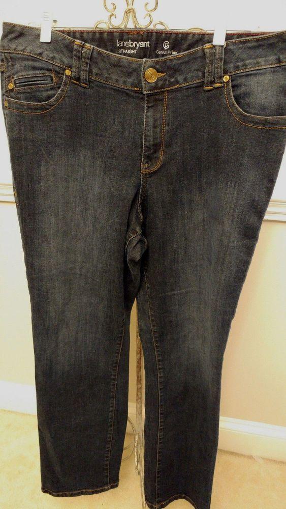 Lane Bryant Genius Fit Plus Size Dark Wash Straight Cut Jeans Size 16  #LaneBryant #StraightLeg