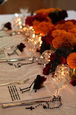 Dia De Los Muertos party table setting