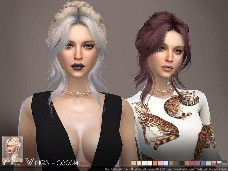 WINGSOS0514 The Sims 4 Catalog Sims hair, Sims