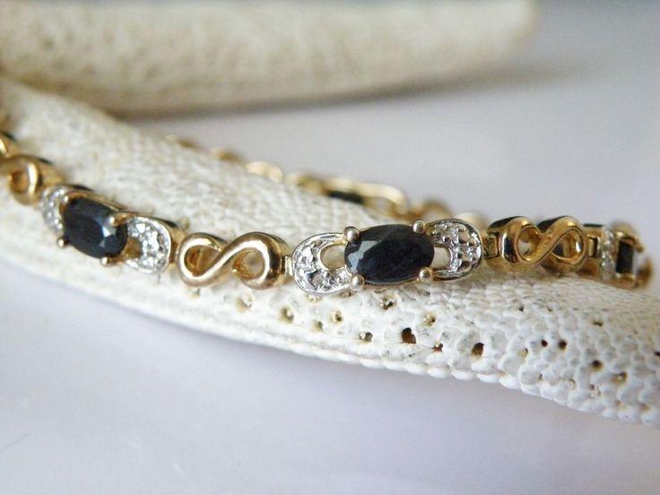 14K Gold on Sterling Silver 925 Natural Sapphire Tennis Station Link Bracelet  #Tennis