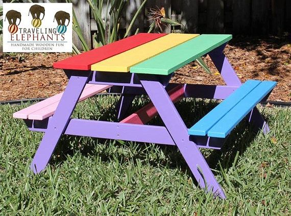 NEW Rainbow Colors Fun Toddler Picnic Tables by TravelingElephants