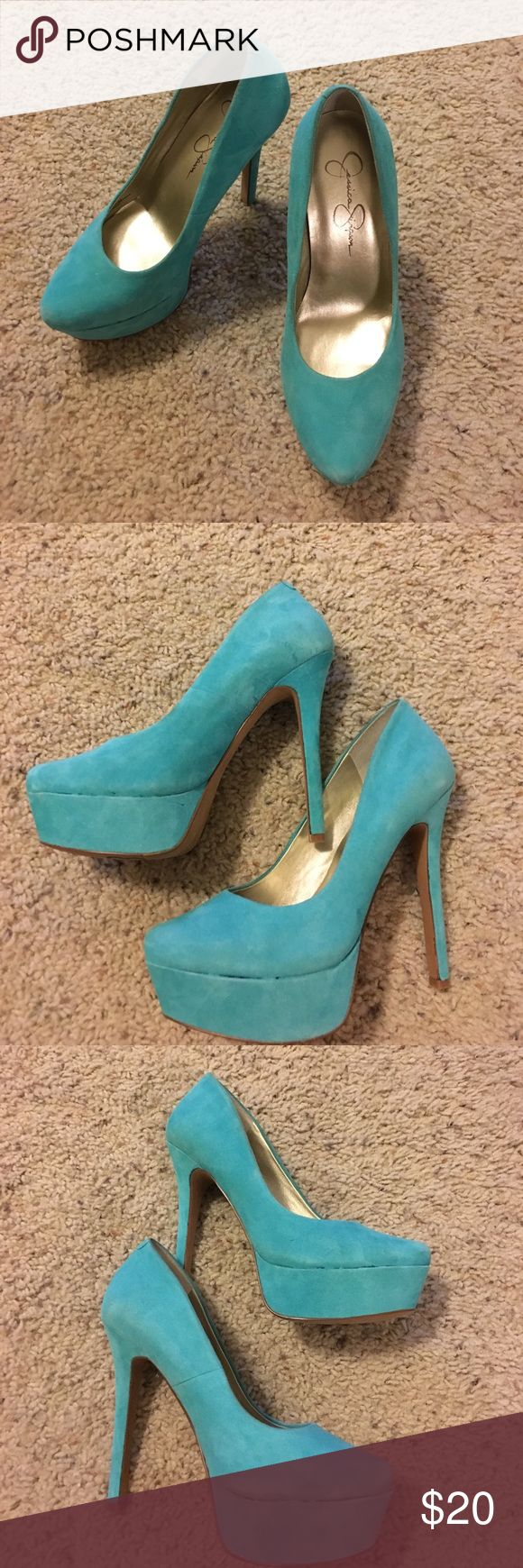 Jessica Simpson Tiffany blue suede pumps Size 6 pumps worn once for photographs. Discoloration in photos is how the material lays. No stains. Jessica Simpson Shoes Platforms