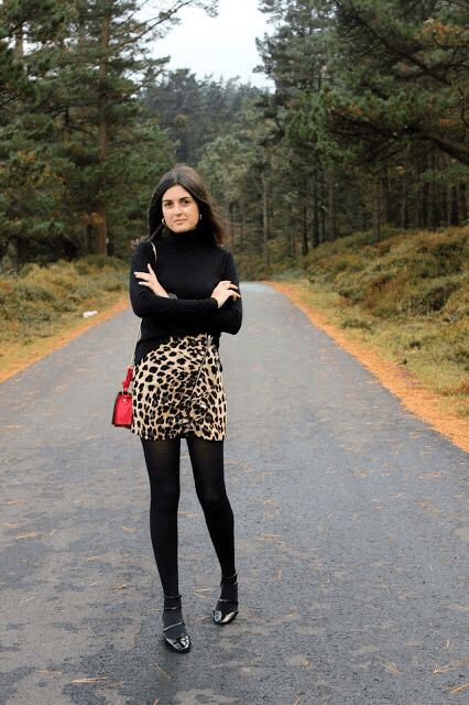 """More leopard? -  As first seen on blog """"Lluvia Acida"""" here: More leopard?  She is wearing tights similar here: Black Opaque Tights Start at the bottom and work your way up. Tights are a fashion foundation.  #tights #pantyhose #hosiery #nylons #tightslover #pantyhoselover #nylonlover #legs"""
