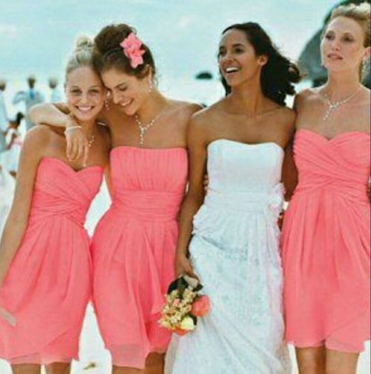 Mini Short Bridesmaid Dress, Coral Bridesmaid Dresses,Chiffon