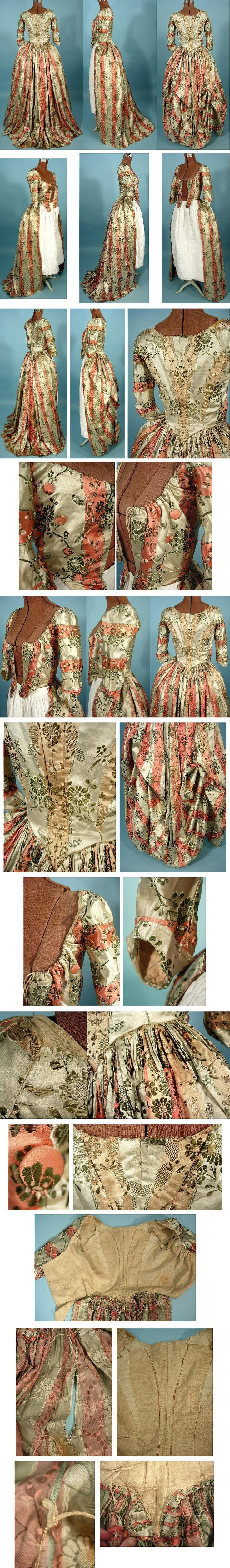 c. 1770's Polonaise of Museum Quality Floral and Striped Brocaded Silk Polonaise with Original internal Drawstrings http://antiquedress.com/item5092.htm