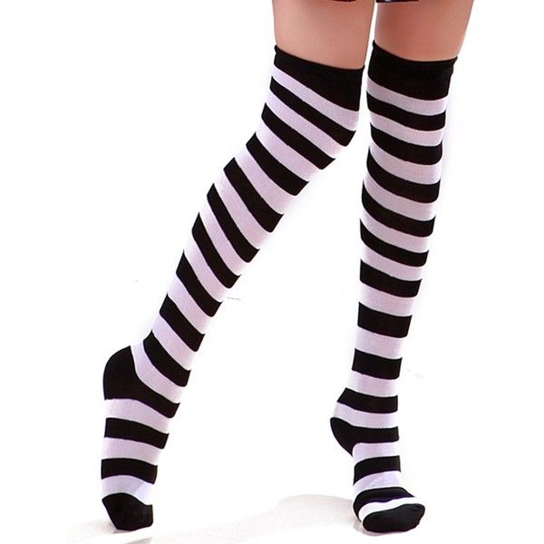 Women's Extra Long Striped Socks Over Knee High Opaque Stockings... (£6.46) ❤ liked on Polyvore featuring intimates, hosiery, socks, over knee socks, over the knee hosiery, black white socks, over the knee socks and black and white stripe socks