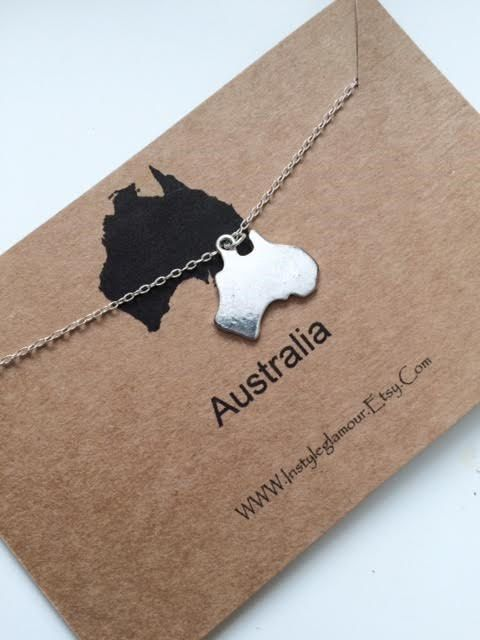 Australia Necklace Continent Necklace Australia by Instyleglamour