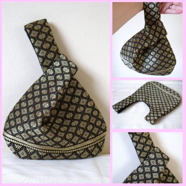 Black & Gold Silk Japanese Knot Bag / Wristlet, Upcycled Silk fabric, Limited Edition Evening Bag, Black and Gold woven silk - handmade by Sew~Kura! £15.00