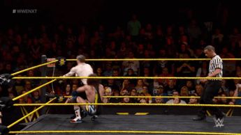 Chad Gable with an awesome rolling German suplex on Aiden English. (NXT)