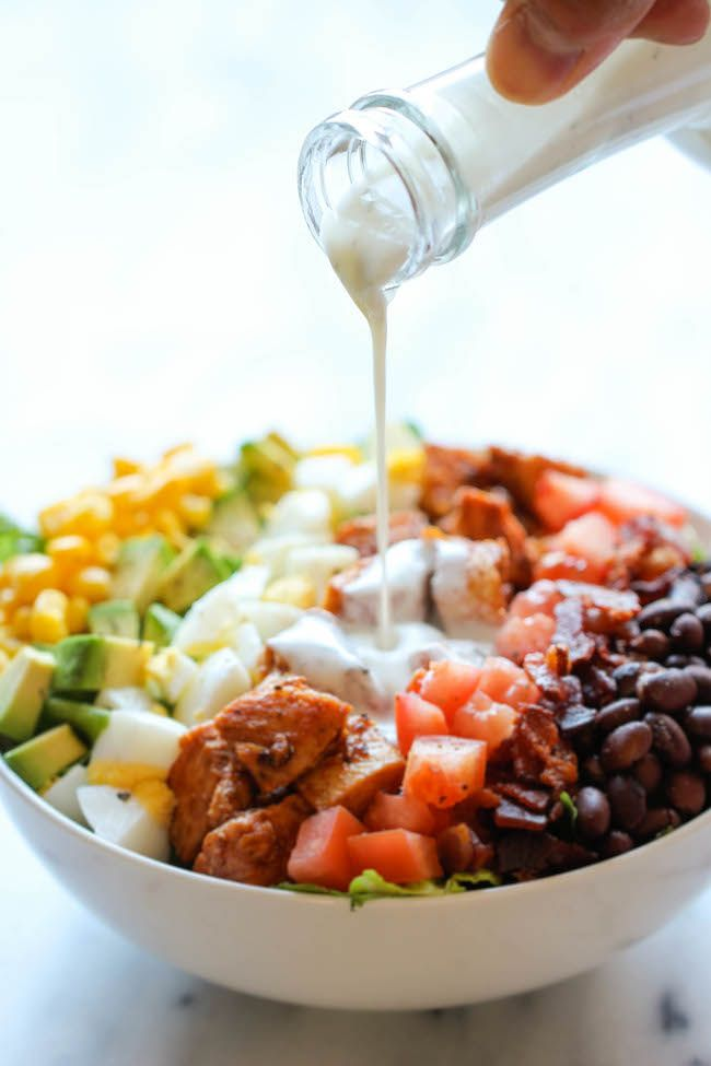 """BBQ Chicken Cobb Salad - """"Healthy, hearty, quick and easy with an incredibly creamy buttermilk ranch dressing that is absolutely to die for!"""""""