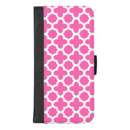 White on Hot Pink Quatrefoil Pattern iPhone 8/7 Plus Wallet Case - white gifts elegant diy gift ideas