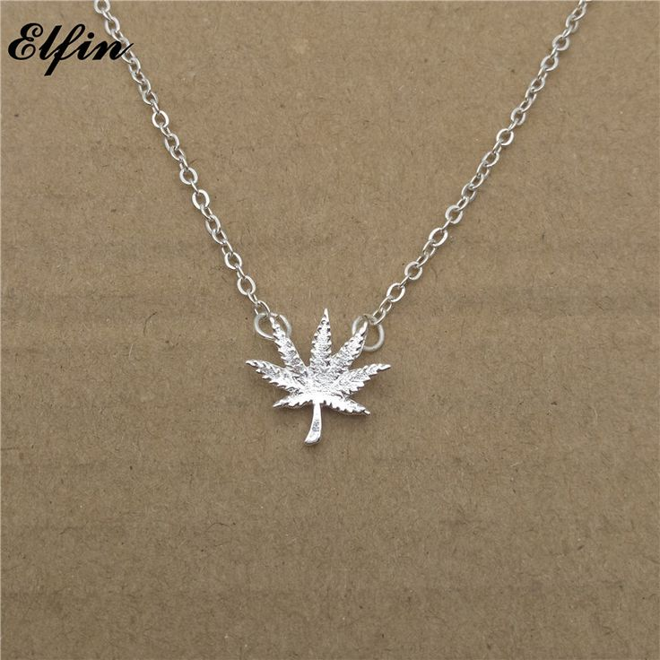 Trendy Weed Leaf Gold Color/Silver Necklace //Price: $9.05 & FREE Shipping //     #weed