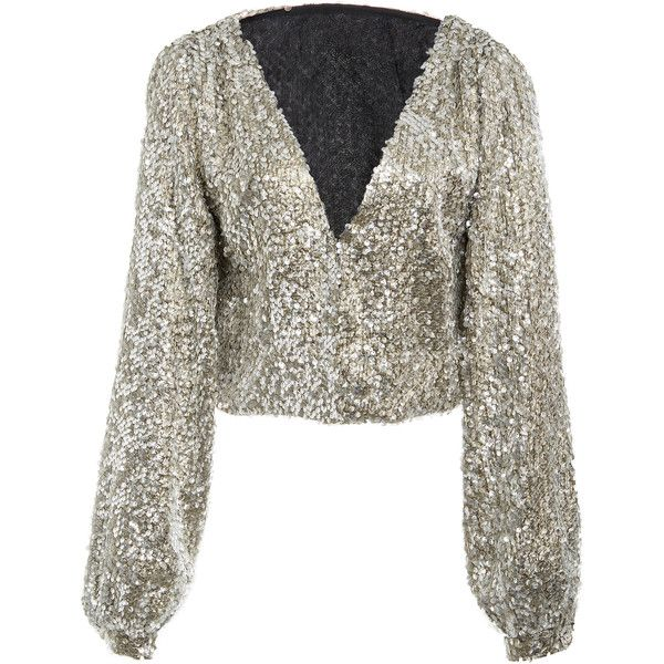 BreeLayne Fiorello Embellished Open Top ($1,185) ❤ liked on Polyvore featuring tops, silver, embellished top, white top and white embellished top