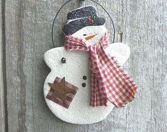 Let it Snow Snowman Salt Dough Christmas Ornament / Stocking Stuffer / Party Favor / Xmas Napkin Rings