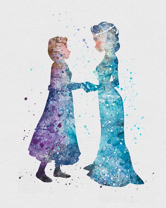 Princess Elsa and Anna Frozen Watercolor Art