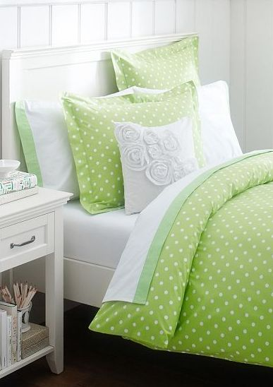 Pretty lime polka dot bedding http://rstyle.me/n/jetu9nyg6