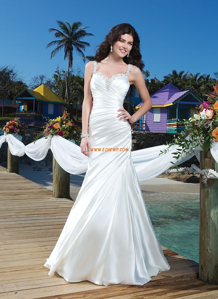 Beach/Destination Little White Dresses Backless Wedding Dresses Cheap