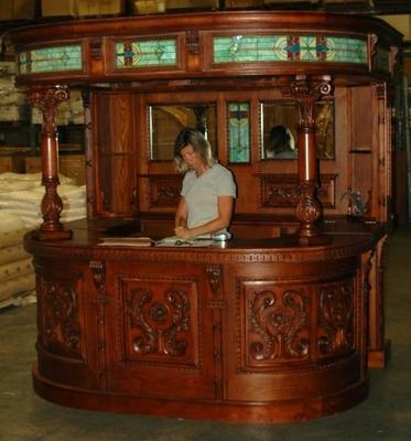 antique oak ENGLISH COVERED HOME BACK BAR victorian Furniture shop counter old.  How cool is this