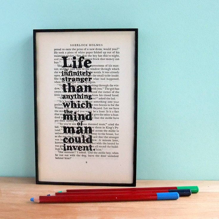 Sherlock Holmes Quote Vintage Book Art