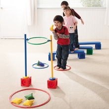 Gross Motor obstacle course with tossing game at the end   -Repinned by Totetude.com