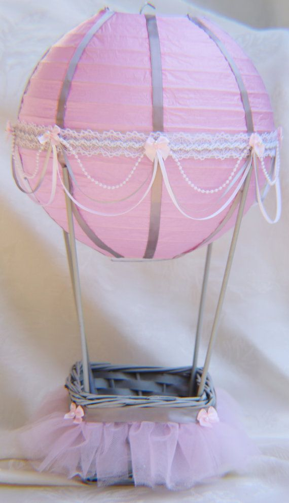 Hot Air Balloon Baby Shower centerpiece pink and grey tutu