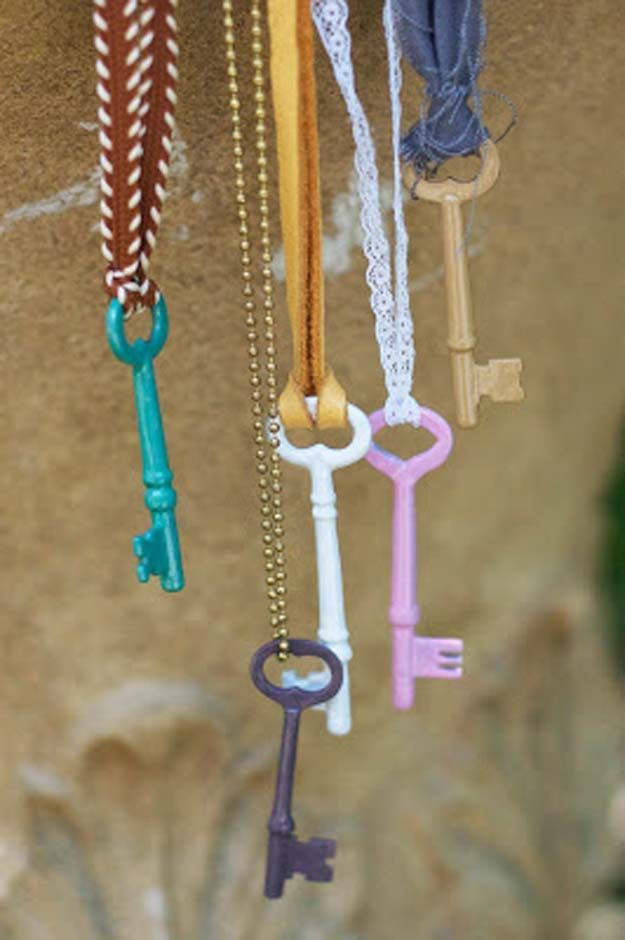 DIY Crafts Using Nail Polish - Enameled Vintage Keys DIY - Fun, Cool, Easy and Cheap Craft Ideas for Girls, Teens, Tweens and Adults | Wire Flowers, Glue Gun Craft Projects and Jewelry Made From nailpolish - Water Marble Tutorials and How To With Step by Step Instructions http://diyprojectsforteens.com/best-nail-polish-crafts