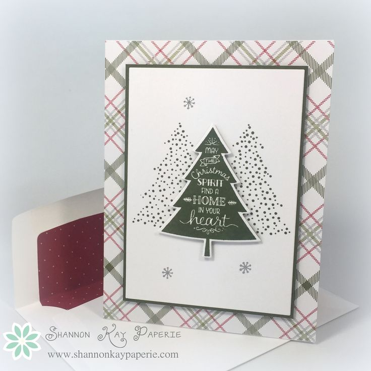 Peaceful Pines is a versatile new stamp set from Stampin' Up! that comes with coordinating dies as an added bonus. I have been having fun creating with it all week! The pattern paper is from the Merry Moments Designer Series...