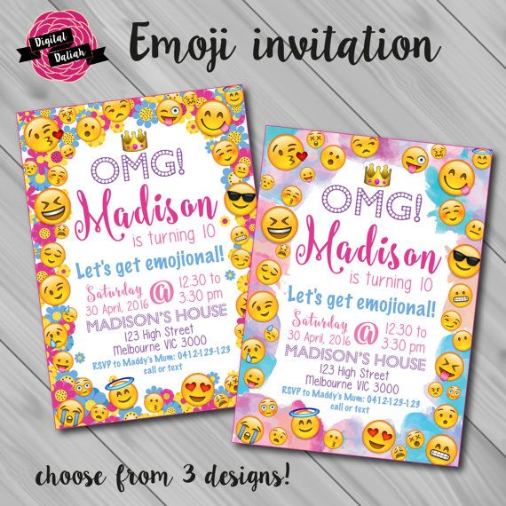 Emoji Emoticon Birthday Invitation. Choose from 3 by DigitalDaliah