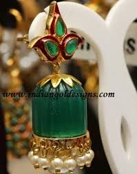Image result for emerald diamond jhumka