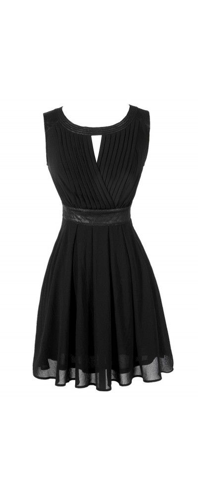 Perfectly Styled Leatherette Trim Pleated Chiffon A-Line Dress  www.lilyboutique.com