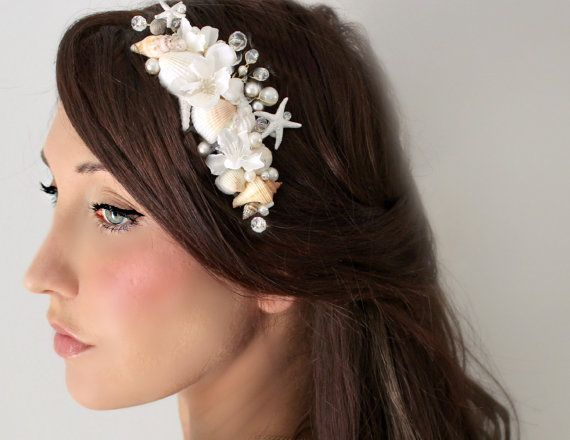 Beach Wedding, Seashell Starfish Pearls Crystals & Flowers Hair Comb, By The Sea, wedding accessory, bridal headpiece,. $85,00, via Etsy.