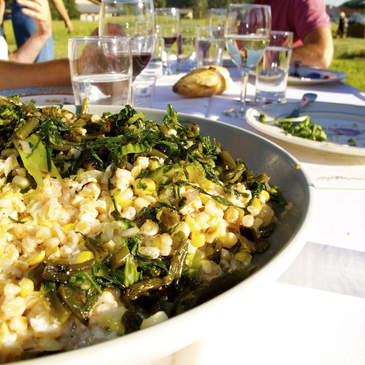 Sweet Corn Farrotto with Mascarpone, Garlic Scapes, and Grilled Corn