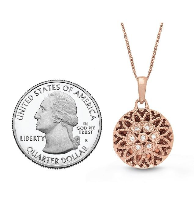 Round Diamond Pendant For 10 Year Anniversary Gift 26 Rose Gold Laney Petite Locket Necklace With You Lockets Locket Necklace Birthday Gifts For Girlfriend Rose Gold Jewelry