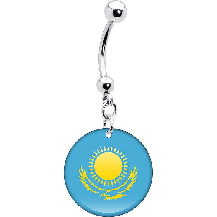 Kazakhstan Flag Belly Ring