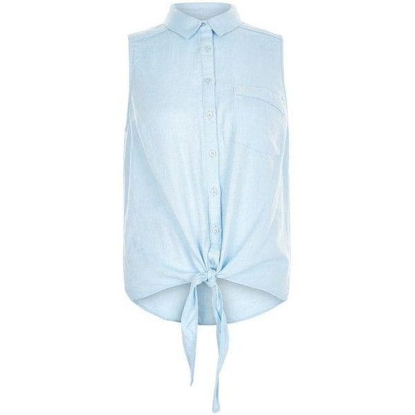 Blue Single Pocket Tie Front Sleeveless Shirt (223.190 IDR) ❤ liked on Polyvore featuring tops, sleeveless tie front shirt, sleeve less shirts, no sleeve shirt, tie front top and sleeveless shirts