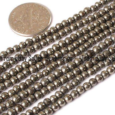"Natural Round Pyrite Beads Jewelry Making Gemstone Strand 15"" 3-20mm Size Pick"