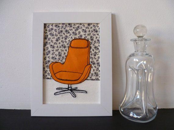 Retro Orange Swivel Chair Freehand machine embroidery by lemonyjen, £15.00