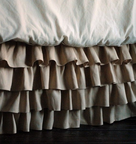 ruffled linen bed skirt found on Etsy @PaulaAndErika.